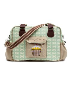 Another great find on #zulily! Peppermint & Cream Bow Yummy Mummy Diaper Bag by Pink Lining #zulilyfinds