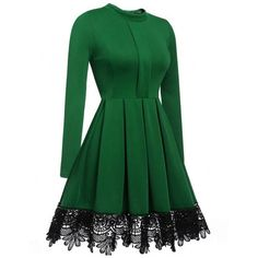 High Neck Patchwork Color Block Skater Dress (€25) ❤ liked on Polyvore featuring dresses, colorblock dress, skater dresses, long-sleeve skater dresses, color block long dress and green skater dress