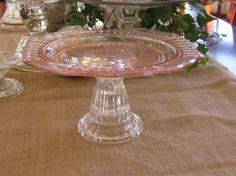 depression glass pink | Pink Depression Glass Cake Plate