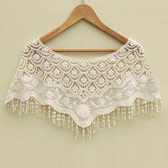Mesh Hollow Crochet Lace Knit Shawl Cape Shawl Tank Top Vest
