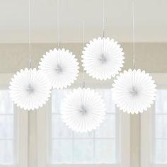 White Paper Hanging Fan Decorations x 5  ValentinesChristmas Decorations -- Find out more about the great product at the image link. (This is an affiliate link) #ChristmasDecorations