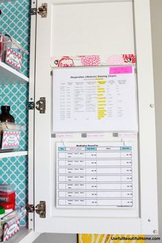 Medicine cabinet organization-- keep dosing charts posted on the door.