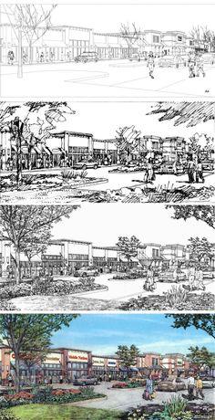 44 Ideas Painting Art Landscape Perspective For 2019 Landscape Sketch, Art Painting, Urban Sketching, Drawing Illustrations, Landscape Design, Perspective Sketch, Architectural Sketch, Art, Landscape Drawings