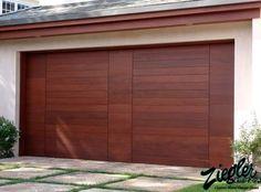 Garage, Brown Wooden Modern Garage Door Als Beige Wall Paint Color Also  Stone Ground Material Design Also Small Green Garden: Exciting Modern Garage  Door ...