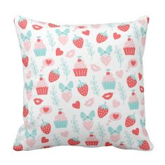 Romantic Sweet Strawberry and Cupcake Heart Lips Throw Pillow   Office art decor   home decor online   affordable home decor   art wall decor   hand lettering   home office decor   contemporary wall decor   home & decor   Designer Pillow covers   artistic pillow covers   affordable home decor   home & decor   Gifts for her   Gifts for moms   home decor gifts   kitchen decor   Gifts for restaurant owners   restaurant decor   Zazzle