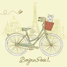 Andar en bicicleta en estilo, postal romántica de París Foto de archivo