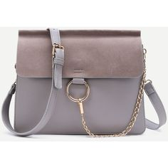 SheIn(sheinside) Ring Chain Faux Suede Flap Bag (700 CZK) ❤ liked on Polyvore featuring bags, handbags, shoulder bags, grey, chain crossbody, gray crossbody, gray purse, grey shoulder bag and crossbody chain purse