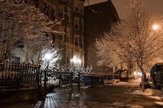 snow in city night   city, houses, night, photography, snow - inspiring picture on Favim ...