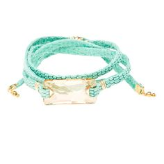 Jacy Champagne Swarovski Crystal and Aqua Argentinean Leather Bracelet... (73 AUD) ❤ liked on Polyvore featuring jewelry, bracelets, accessories, schmuck, 24-karat gold jewelry, leather bangles, aqua blue jewelry, swarovski crystal jewellery and magnetic jewelry