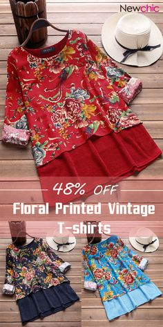 [Up to off]Women Floral Printed Two Layers O-neck Vintage T-shirts.Suit for Spring,Autumn and Winter. Vintage Dresses Online, Vintage Style Dresses, Dress Outfits, Casual Outfits, Types Of Dresses, T Shirt Diy, T Shirts For Women, Clothes For Women, Floral Prints