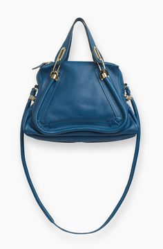 91c20b8bccb4 Chloe Paraty Bag in Grained Calfskin - Factory Blue