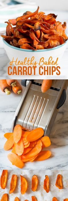 Healthy Baked Carrot Chips (Video) - A Spicy Perspective Healthy Vegan Snacks, Vegan Appetizers, Healthy Baking, Paleo Vegan, Healthy Recipes, Baked Carrot Chips, Baked Carrots, Whole 30 Recipes, Real Food Recipes