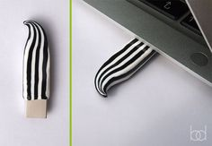 Black and White Striped USB Flash Drive,  Polymer Clay