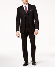 Perry Ellis Men's Slim-Fit Black Vested Stretch Suit - Black 42R