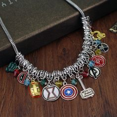 Best Marvel Avengers All Superheroes Necklace Cheap Gold Bar Necklace, Dainty Necklace, Initial Necklace, Lariat Necklace, Moda Marvel, Marvel Avengers, Marvel Comics, Superhero Symbols, Avengers Symbols