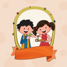 Greeting card design with illustration of cute kids for indian festival of brother and sister bonding, raksha bandhan celebration.