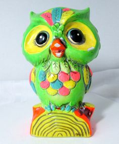 Vintage Owl Bank Paper Mache Bright Green by Holiday 1968 – VintageVirtue.net