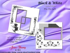 """Black White Quick Pages on Craftsuprint designed by June Young - Two quick pages, one in a modern design and one more traditional. These can be used for personal or commercial purposes as long as they form part of your own work, they must not be sold on in the original form. The pages are 12"""" x 12"""" and 300dpi so can be enlarged or reduced to suit your requirements. They are .png files with transparent backgrounds so you can add your own photos/illustrations. - Now available for download!"""