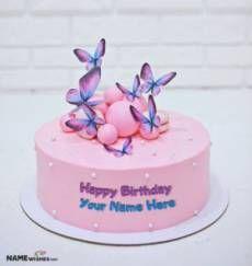 Unique Girly Birthday Cake With Name For Girls Only Happy Birthday Sister Cake, 16th Birthday Cake For Girls, Happy Birthday Cake Writing, Mother Birthday Cake, Heart Birthday Cake, Birthday Drip Cake, Butterfly Birthday Cakes, Special Birthday Cakes, Elegant Birthday Cakes
