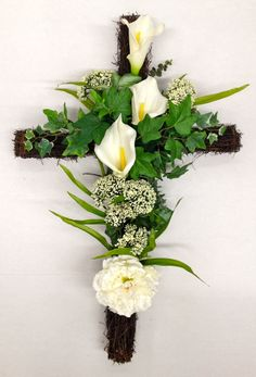 Season Memorial Grape Vine Cross with White Calla Lilies and Wild Powdery white flowering plumes - Spring 2014 - Design and arrangement by Nelson F. Martinez - http://nfmdesign.synthasite.com