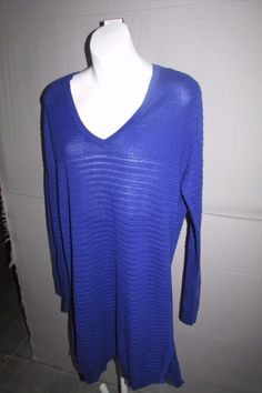 37.13$  Buy here - http://vialq.justgood.pw/vig/item.php?t=4nud11h0239 - Tommy Bahama NEW Blue Womens Size XL Long Sleeve Beach Sweater Swimsuit Cover-up 37.13$