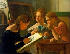1827 Constantin Hansen - Three Young Girls (The Artists Sisters Alvilde, Ida, and Henriette)