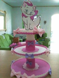 Cupcake Display Stand, Cake And Cupcake Stand, Cat Birthday, Birthday Parties, Foam Crafts, Diy And Crafts, Aristocats Party, Simple Birthday Decorations, Cake Templates