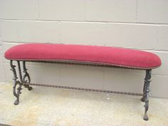 Antique Spanish Wrought Iron Window Bench 19th by OldMillVintage