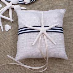 Starfish white burlap ring bearer pillow - beach wedding