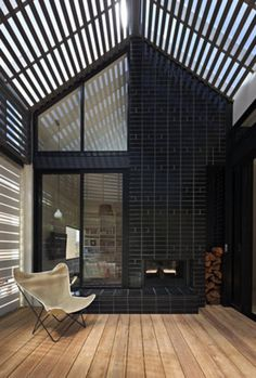 Outdoor room uses batten screens to create enclosure
