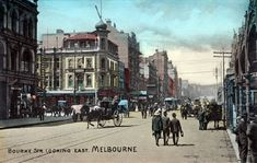 Bourke St Nth side, looking east across Swanston Street, late Century. Orient Hotel (demolished at intersection Melbourne Suburbs, Melbourne Cbd, Melbourne Victoria, Victoria Australia, Old Pictures, Old Photos, Exhibition Building, Oriental Hotel, Birds Eye View