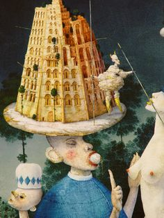 Zdenek Janda Tarot, Tower Of Babel, Masonic Symbols, Portfolio Images, Unusual Art, Beautiful Buildings, Thunder, Paintings, Illustrations