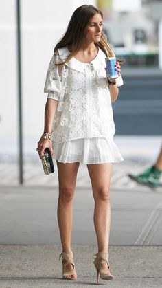 Olivia Palermo summer outfit looks. Olivia wearing an all white cute romantic look