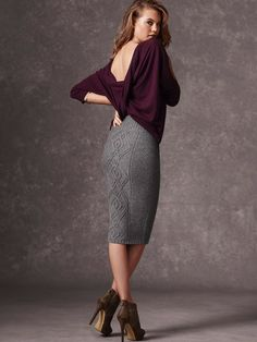 Cable-knit Midi Skirt. $49.50