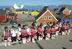 School children in Upernavik start their first day of school wearing traditional Greenlandic costumes