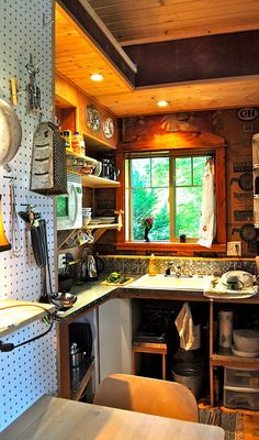 tiny house kitchen interior - efficient, inexpensive use of wall space. If you like please follow us!