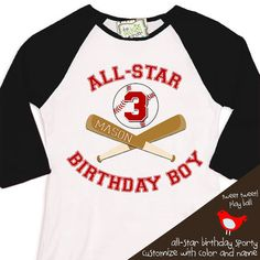 Birthday Boy shirt - ALL STAR baseball, sports themed birthday party  raglan t-shirt