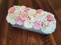 Pink and Natural White Centerpiece Box- Home Decor- Wood flowers- wedding centerpiece- table centerpiece