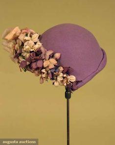 Lilly Dache Lilac Felt Hat, 1930s, Augusta Auctions, May 2008 Vintage Fashion & Antique Textile Sale, Lot 1023