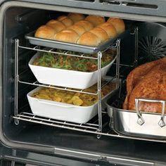 Three-tier oven rack.