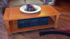 Burnt Orange Coffee Table - Distressed with black underneath.