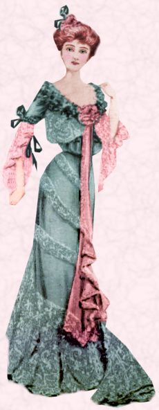 afternoon dresses 1890   High necks were usualby day, but by night exceptionally low sweetheart ...