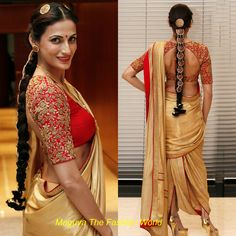 shilpa Reddy ramp walked at India Fashion week-Dubai in dhoti style gold color saree with red border  and red blouse with quater sleeves zardosi work  http://www.maguvathefashionworld.com/2014/09/shilpa-reddy-in-india-fashion-week-dubai.html#.VA9IzIbF-Y8