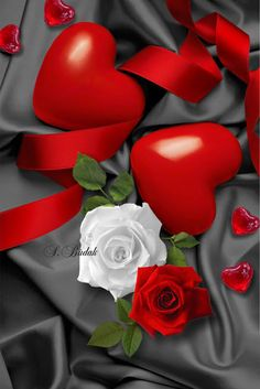 To my dear Joe❤Love you forever Love Heart Images, I Love Heart, Love Rose, Red And White Roses, Hearts And Roses, Red Roses, Heart Wallpaper, Love Wallpaper, Holiday Pictures