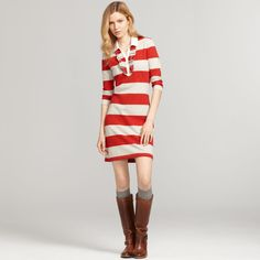 Stripe Ruffle Polo Dress and boots