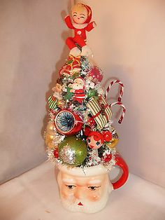 Fun Vintage Christmas Pixie in Santa Mug w Little OOAK Girl Bottle Brush Tree | eBay