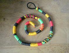Atebas amovible rasta verte jaune rouge et noire - 42cm Tresse indienne : Accessoires coiffure par stonanka