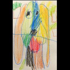 A Kindergarten student made this today in an after school arts program that I work with. I just love it. :) #childrensart #dogart #kidsart #kidsartwork
