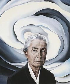 Self-Portrait by Georgia O'Keeffe. She took a lot of care to record her wrinkles, and I love the gray flower looming behind her, all that spiral energy.