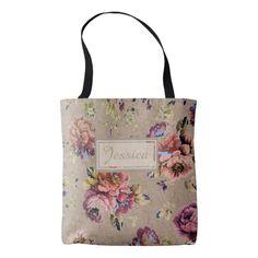 Vintage Rustic Floral tote bag.